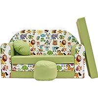 Pro Cosmo - Canapé-lit pour Enfant Z5 - avec Pouf/Repose-Pieds/Oreiller - en Tissu - Vert - 168 x 98 x 60 cm