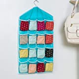Everbuy Washable 16 Grids Pouch Clothes Sock Underwear Bra Hanging Storage Bag Organizer (Multicolor) (made in india)