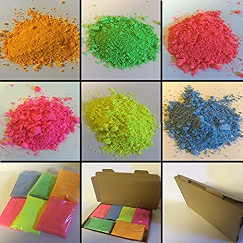 6 X 100GM Fluorescent Powder Paint Refill / RED - PINK - YELLOW - BLUE - GREEN - ORANGE