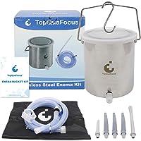 TopQuaFocus Lavement Douche 2L Réutilisable Seau de Lavement Côlon en Acier Inoxydable sans Phtalates et BPA avec 5…