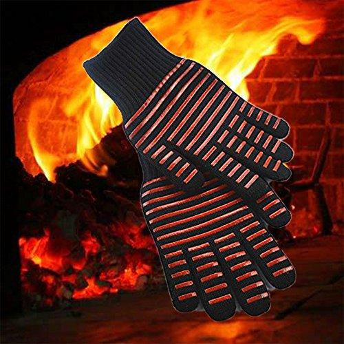 ele ELEOPTION 1 paire de cuisine cuisson en plein air gants de barbecue résistant à la chaleur four barbecue grill résistant à la chaleur (rouge)