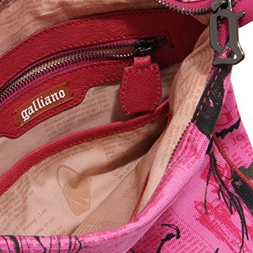 5343M borsa tracolla donna GALLIANO tessuto pelle borse women bags Fucsia