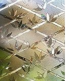 rabbitgoo Sichtschutz Fensterfolie Statisch Sichtschutzfolie Anti-UV 3D Folie Selbsthaftend Dunkelbraun Bambus Muster 44.5 x 200 cm
