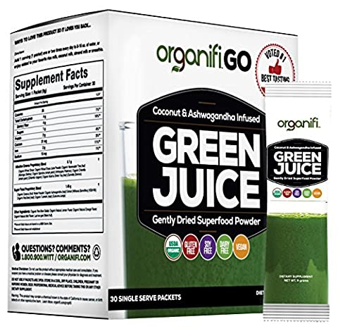Organifi GO Packs - Green Juice Super Food Supplement 30 Individual Wrapped Portable Travel-Friendly Packs. USDA Organic Vegan Greens Powder by