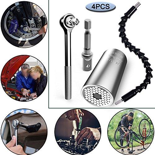 Universal Metrisches Schlüssel Bohrmaschine Adapter Socket (7–19mm), flexible Erweiterung Schraubendreher Bithalter (29), Professional Repair Tools by giagy, 4Stück Set (Bohrmaschine-erweiterung)