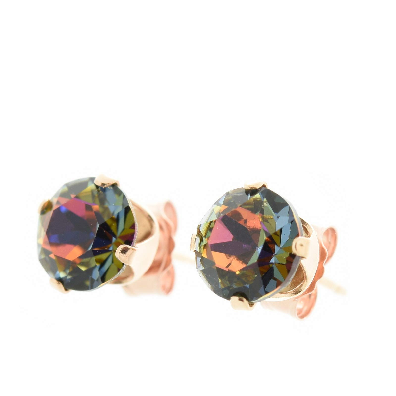 pewterhooter 18ct Rose gold on Silver earrings. Sparkling Volcano crystal from Swarovski. Gift box.
