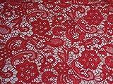 Rot Blumenmuster Spitze Stoff Kleid nähen bestickte Spitze