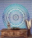 Guru-Shop Indisches Mandala Tuch, Wandtuch, Tagesdecke Mandala Druck - Blau/türkis, Baumwolle, 230x210 cm, Bettüberwurf, Sofa Überwurf