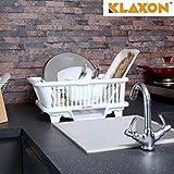 #10: Klaxon Kitchen Dish Drainer Rack Plastic - 3 in 1 Kitchen Dish Drainer Rack Organizer/Storage Rack & Washing Holder Basket - White