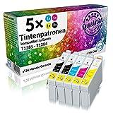 N.T.T.® 5 Stück XL 100% Qualität Druckerpatronen Tintenpatronen Tinte Satz für Epson Stylus kompatibel zu EPSON Stylus SX420W SX425W S22 SX 125 BX305FW Plus SX130 SX235W SX235W SX435W SX440W SX445W EPSON Stylus Office BX305F BX 305 FW (2x T1281 black , 1x T1282 cyan , 1x T1283 magenta , 1x T1284 yellow) MIT CHIP! --> 1 x komplette Sätze + 1 Schwarz geschenkt ! <--- *** SPARSET ***