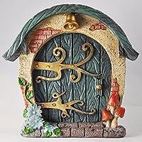 Puerta de cabaña de hadas del bosque, redonda.