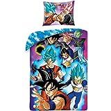 Juego de cama Dragonball Super ProTAGONISTI Goku Vegeta Funda nórdica con funda azul reversible funda nórdica y funda de almo