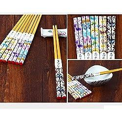 Juego de 5pares de bambú Natural pintado palillos reutilizables, restaurante chino japonés palillos Set antideslizante palillos regalo 4