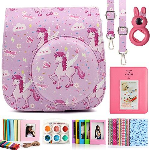 CAIUL 7 in 1 Instax Mini 9 8 8+ Cámara Accesorios Set con Funda, Album de Fotos, Close Up Lente, Marco y Otros Accesorios (Pink Horse)