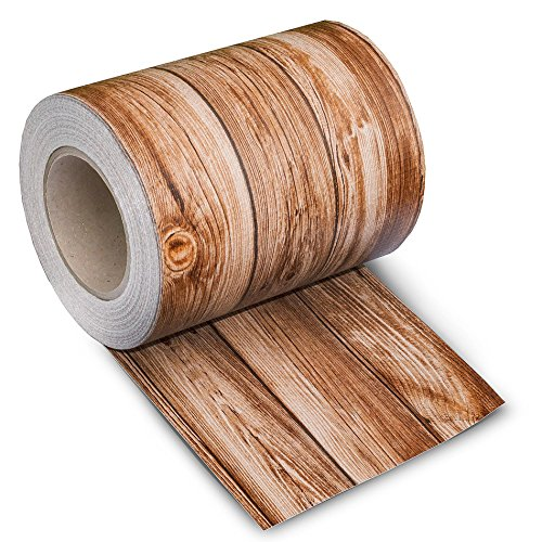 ESTEXO PVC Sichtschutz Streifen 35m Länge Zaunblende Folie Doppelstabmatten Zaun Zaunfolie Holz-Optik 2