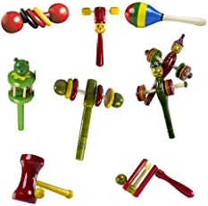 CeeJay Toys RA-OW025 Wooden Baby Rattle Toys, 0-2 Years (Yellow) - Pack of 8