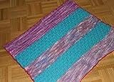 kleine handgestrickte Baumwoll-Decke, Babydecke, bunt, 65x85cm
