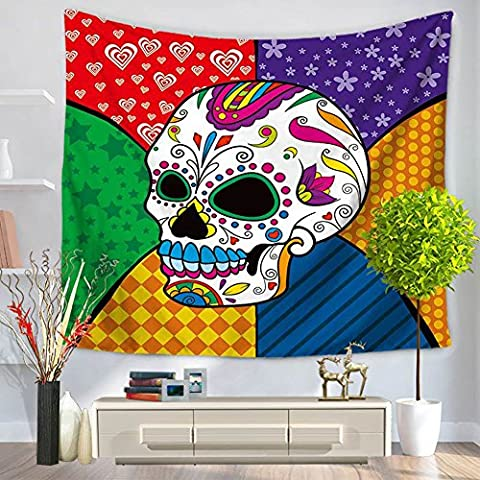 YJ Bear Skull Print Rectangle Indian Mandala Boho Beach Towel Throw Non-woven Weaving Yoga Mat Blanket Wall Hanging Tapestry Table Cloth Cover 59