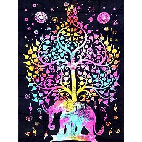 Hippy algodón indio Mandala colgar de la pared del tiro de Bohemia Decoración Badspread Tapices (elefante Multi - A)