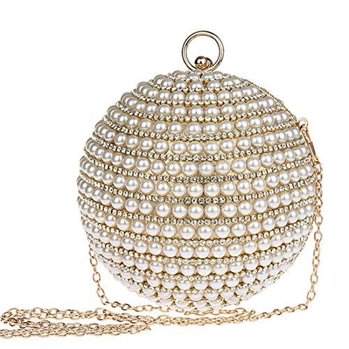 KAXIDY Forma Unica Pochette Donna Elegante Pochette da Sera Perline Incastonato Borsetta Da Sera (Oro)