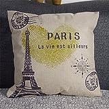 """Luxbon Funda Cojín Almohada Lino Duradero París Francia La Torre Eiffel Decoración para Sofá Cama Coche 18x18"""" 45x45 cm"""