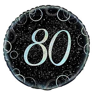 Unique Party- Globo foil de 80 cumpleaños, Color plateado metálico brillante, 45 cm (55826)