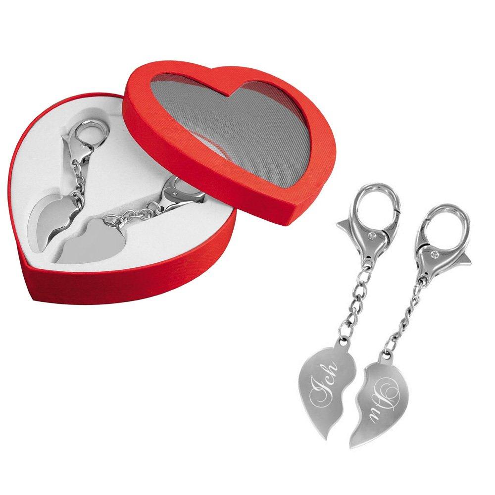 Partner-Schlüsselanhänger - Ein Herz für zwei - das perfekte Liebes-Geschenk mit Gravur: Ich & Du