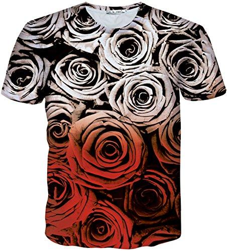 Pizoff Unisex Sommer leicht bunt bequem cool Digital Print T Shirts mit 3D bunt rot Allmähliche Veränderungen blumen rose Muster Y1730-Q9-L-alfa (Shirts Blume Rote)