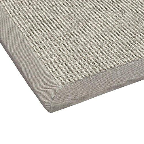 BODENMEISTER Sisal-Teppich modern hochwertige Bordüre Flachgewebe, verschiedene Farben und Größen, Variante: grau weiss natur, 240x340