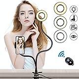 K&F Concept 12W LED-ringlampa selfie-ringljus med Telefonhållare Flexibelt, Bluetooth Fjärrkontroll, 3-ljusläge, 10 ljusstyrk