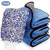 NOTENS Mikrofaser Auto Trockentuch, 3X Autopflege Mikrofasertücher Poliertuch 850GSM Poliertücher (40x45cm) + Autowaschhandschuh zur Reinigung von Auto & Motorrad