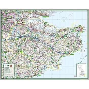 Suffolk Herts Map Framed 30 x 40cm Print MDF Multi-Colour 42 x 32 x 2.4 cm National Railway Museum Essex