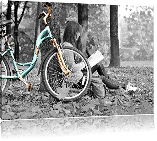 Jeune fille à vélo noir / blanc Taille: 120x80 sur toile, XXL énormes Photos complètement encadrées avec civière, impression d'art sur murale avec cadre, moins cher que la peinture ou la peinture à l'huile, pas une affiche ou une bannière,