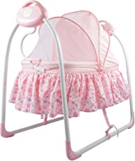 Baybee Premium Quality Electric Baby Cradle Swing | Music Sleeping Basket Bed | Lightweight and Transportable (Pink) …