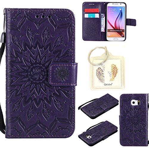 Preisvergleich Produktbild für Samsung Galaxy S6 Geprägte Muster Handy PU Leder Silikon Schutzhülle Handy case Book Style Portemonnaie Design für Samsung Galaxy S6 + Schlüsselanhänger/*19 (7)