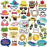 Konsait Fotorequisiten & Fotoaccessoires Hawaii Photo Booth Hüte Brillen Masken Party Zubehör mit Stöcken für BBQ Tropischen Garten Strand Sommer Tiki Hochzeit Geburtstag Party Dekoration (53pcs)