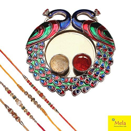 Mela Set Of 4 Rakhi With Decorative Pooja Plate (Peacock) And Kumkum...