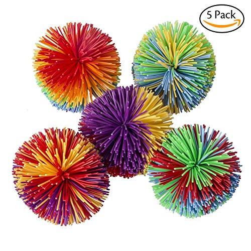 BIEE 5 Pack Stringy Stress Ball Affe Stringy Bälle, weiche aktive Spaß Spielzeug, sensorische Fidgets Spielzeug Stress Bälle mit Rainbow Pom Ball, bunte Bouncy Ball/Stress/Sensory Spielzeug (Beste Eltern Kind Kostüme)