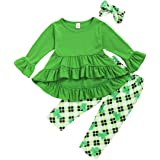 Baby Girl St. Patrick's Day Outfits Toddler Ruffle Bell Sleeve T-Shirt Top Dress+Clover Pant+Headband 3Pcs Clothes Set