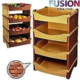 Carrello da cucina con 4 cestini per frutta e verdura; materiale: rattan sintetico