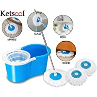Ketsaal 360 Degree Spin Bucket Mop with 3 Refills- Super Absorbent Refills for All Type of Floors, 180 Degree Bendable Handle, for Perfect Cleaning (Color May Vary)