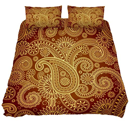 MUMIMI 3-Piece Microfiber Bedding Set (1 Cover 2 Pillowcase) with Zip: Duvet Cover Pillow Shams Bed Quilt Cover,Lightweight and Soft -Queen/King,Damask Bohemian Paisley Design Print - Paisley Twin-set