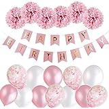 MMTX Decoration Anniversaire Fille Deco, Anniversaire Bannière Guirlande Ballons avec Anniversaire décoration Papier de Soie Pompons Rose et Rose Ballons pour Fille Petite Amie for 1 an 2 Ans 3 Ans