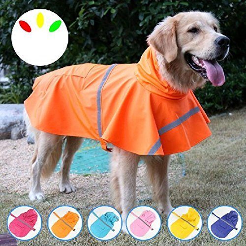 LA VIE Hund Regenmantel mit Kapuze Wasserdichter Reflektierende Hundejacke Haustier Warnweste für Kleine und Mittlere Hunde Katze Welpen Gelb L
