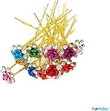 Multi-Color Hair Flower for Bun Decoration/Fancy Stylish Juda Pins Of 12 pcs