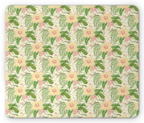 ASKSSD Botanical Mouse Pad, Daisy Spring Large Bouquets Leaves Gardening Foliage Floral Yard, Standard Size Rectangle Non-Slip Rubber Mousepad, Pale Yellow Green Coral -