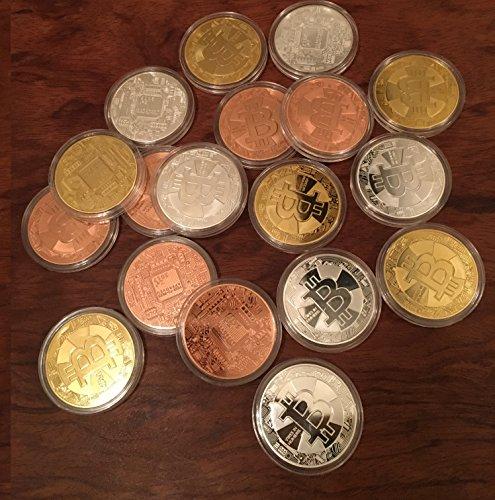 3er Set Bitcoin Münzen / Angreifbare Physische Physikalische Bitcoins – Dekomünzen Krypto-Muster BTC SET 40mm Gold, Silber & Kupfer farbig im Set – Mit SCHUTZKAPSEL - 5