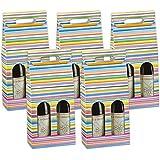 Paquete de regalo, botella cartón para 2botellas con ventana y mango–180x 90x 385mm–5Unidades), varios diseños, color bunt gestreift