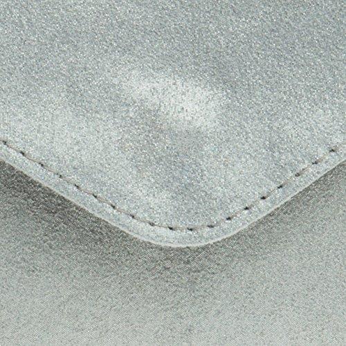 CASPAR TL708 Damen Velours Wildleder Envelope Clutch Tasche Abendtasche mit Handschlaufe Silber