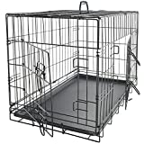 OxGord Dog Crate Wire Metal Cage Pet Cat Kennel W/2-Doors FREE Divider W/ABS Plastic Removable Tray (Black) Fold & Cary w/Handle - 2015 Newly Designed